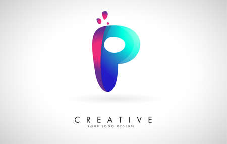 Blue and Pink creative letter P logo Design with Dots. Friendly Corporate Entertainment, Media, Technology, Digital Business vector design with drops. Rounded Vector Letter of twisted Ribbon for Title, Header, Lettering, Logo and Corporate Identity. 向量圖像