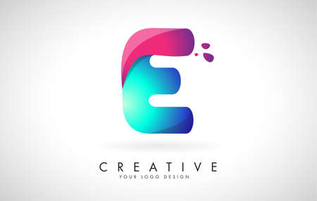 Blue and Pink creative letter E Logo Design with Dots. Friendly Corporate Entertainment, Media, Technology, Digital Business vector design with drops. Rounded Vector Letter of twisted Ribbon for Title, Header, Lettering, Logo and Corporate Identity.