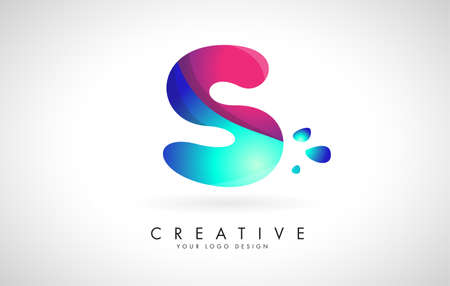 Blue and Pink creative letter S logo Design with Dots. Friendly Corporate Entertainment, Media, Technology, Digital Business vector design with drops. Rounded Vector Letter of twisted Ribbon for Title, Header, Lettering, Logo and Corporate Identity.