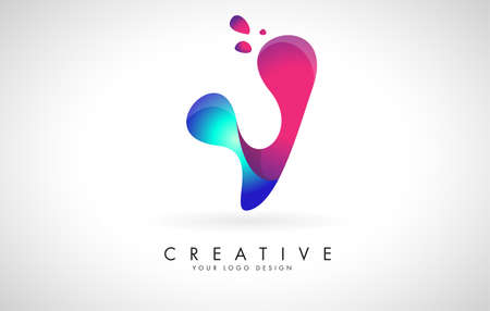 Blue and Pink creative letter V logo Design with Dots. Friendly Corporate Entertainment, Media, Technology, Digital Business vector design with drops. Rounded Vector Letter of twisted Ribbon for Title, Header, Lettering, Logo and Corporate Identity.