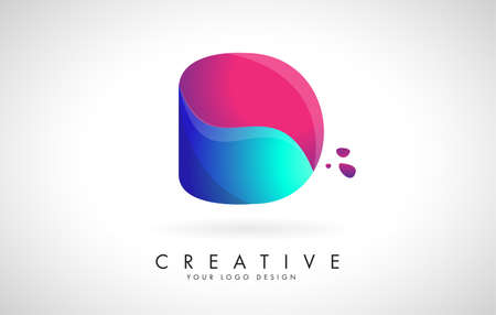 Blue and Pink creative letter D Logo Design with Dots. Friendly Corporate Entertainment, Media, Technology, Digital Business vector design with drops. Rounded Vector Letter of twisted Ribbon for Title, Header, Lettering, Logo and Corporate Identity.