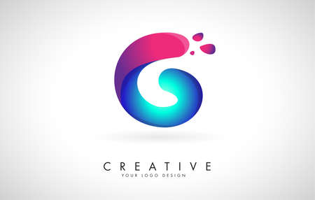Blue and Pink creative letter G Logo Design with Dots. Friendly Corporate Entertainment, Media, Technology, Digital Business vector design with drops. Rounded Vector Letter of twisted Ribbon for Title, Header, Lettering, Logo and Corporate Identity.