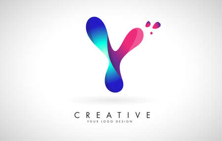 Blue and Pink creative letter Y logo Design with Dots. Friendly Corporate Entertainment, Media, Technology, Digital Business vector design with drops. Rounded Vector Letter of twisted Ribbon for Title, Header, Lettering, Logo and Corporate Identity. 向量圖像