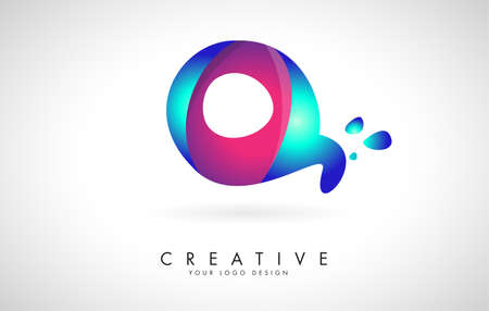 Blue and Pink creative letter Q logo Design with Dots. Friendly Corporate Entertainment, Media, Technology, Digital Business vector design with drops. Rounded Vector Letter of twisted Ribbon for Title, Header, Lettering, Logo and Corporate Identity. 向量圖像