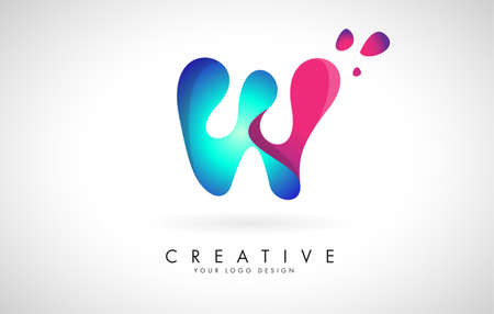Blue and Pink creative letter W logo Design with Dots. Friendly Corporate Entertainment, Media, Technology, Digital Business vector design with drops. Rounded Vector Letter of twisted Ribbon for Title, Header, Lettering, Logo and Corporate Identity.