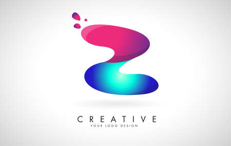 Blue and Pink creative letter Z logo Design with Dots. Friendly Corporate Entertainment, Media, Technology, Digital Business vector design with drops. Rounded Vector Letter of twisted Ribbon for Title, Header, Lettering, Logo and Corporate Identity.