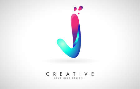 Blue and Pink creative letter J Logo Design with Dots. Friendly Corporate Entertainment, Media, Technology, Digital Business vector design with drops. Rounded Vector Letter of twisted Ribbon for Title, Header, Lettering, Logo and Corporate Identity. 向量圖像