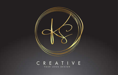 Handwritten KS K S Golden Letters Logo with a minimalist design. KS Icon with Circular Golden Circles. Creative Stamp Vector Illustration with letters K and S.