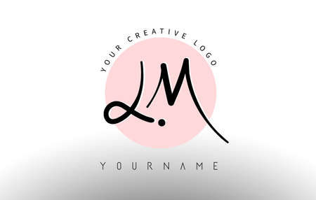 Handwritten Letters LM l m Logo with rounded lettering and pink circle background design. Creative Stamp Vector Illustration with letters L and M.
