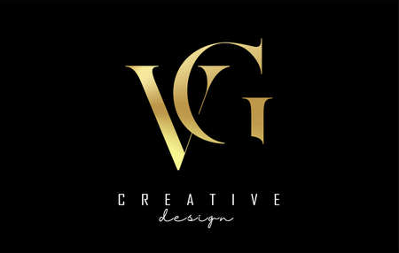 Golden SF s f letter design logo logotype concept with serif font and elegant style. Vector illustration icon with letters V and G.