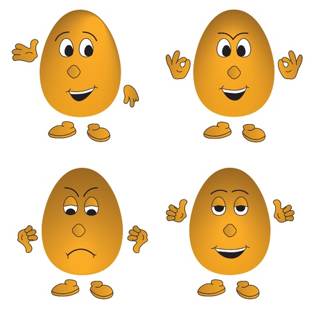Eggs with various emotions and gestures - detailed isolated emoticons Vector