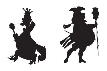 tsar: Black silhouette kings (illustration on white) Illustration