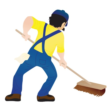 sweeping: An man holding a mop and cleaning the floor Illustration