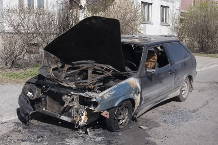 Car after accident (crash). Tottaly damaged. Wrecked car photo