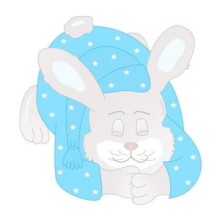 Sleeping bunny-boy in a blue pajamas with star Stock Vector - 9841803