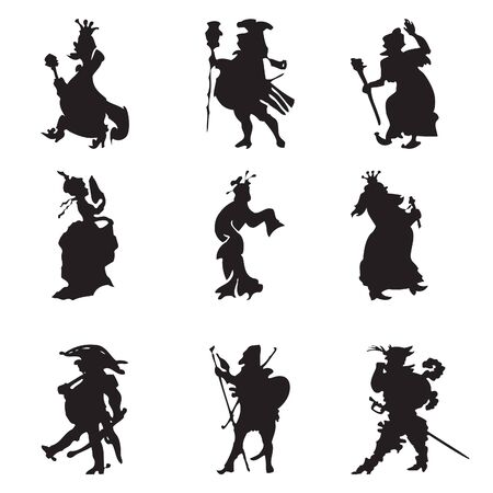 Black silhouettes of royal retinue (illustration on white) Vector