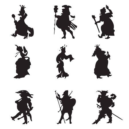 mosquetero: Siluetas negras de la comitiva real (ilustración en blanco)