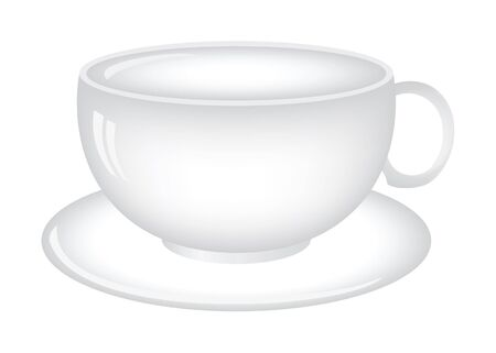 saucer: Coffee (tea) cup illustration isolated on white