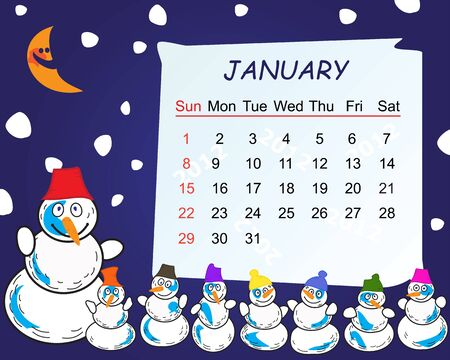 Calendar for the month of january 2012 Vector