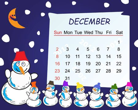 Calendar for the month of december 2012 Vector