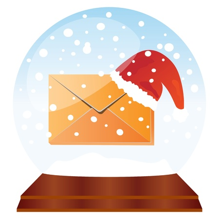 Christmas mail in glass globe