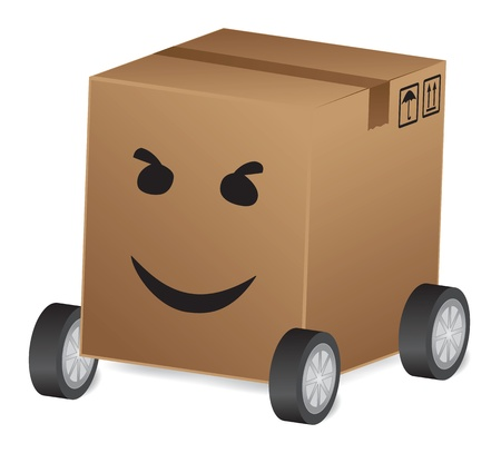 A merry delivery-box on wheels. Transport concept for delivery, moving, shipping. Stock Vector - 11666214