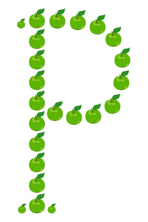 Letter - P made from apple. Isolated on a white. Vector