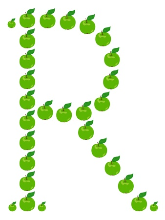 Letter - R made from apple. Isolated on a white. Vector