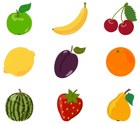 Cartoon apple, banana, cherry, lemon, orange, plum, strawberry, pear, watermelon