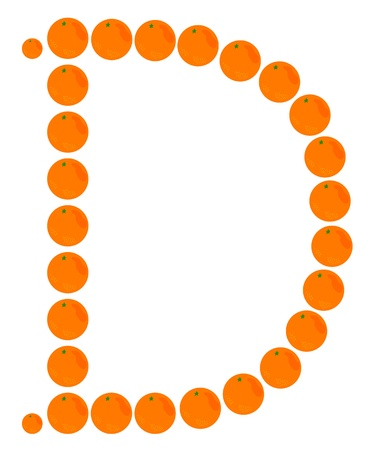 learning to cook: Letter - D made from orange. Isolated on a white. Illustration