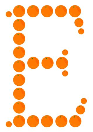 e white: Letter - E made from orange. Isolated on a white.