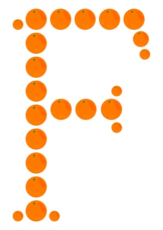 learning to cook: Letter - F made from orange. Isolated on a white.