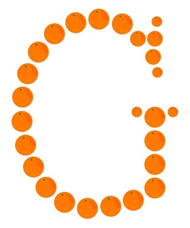 Letter - G made from orange. Isolated on a white. Vector