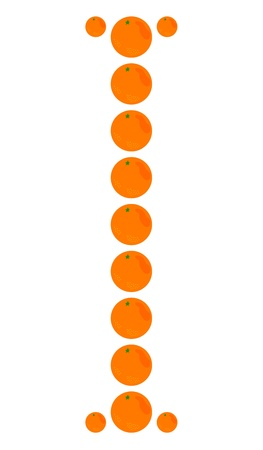 learning to cook: Letter - I made from orange. Isolated on a white. Illustration