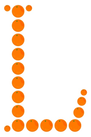 learning to cook: Letter - L made from orange. Isolated on a white.