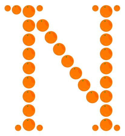 Letter - N made from orange. Isolated on a white. Vector