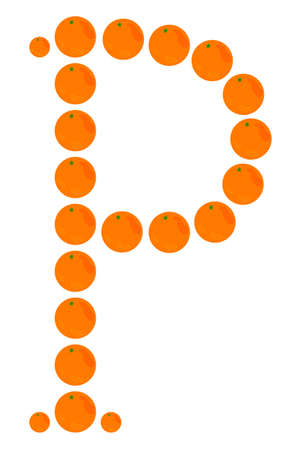 Letter - P made from orange. Isolated on a white. Vector