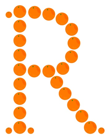 Letter - R made from orange. Isolated on a white. Vector