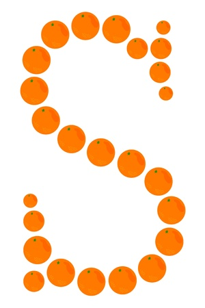 Letter - A made from orange. Isolated on a white. Vector