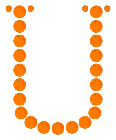 Letter - U made from orange. Isolated on a white. Vector