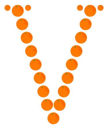 v alphabet: Letter - V made from orange. Isolated on a white.