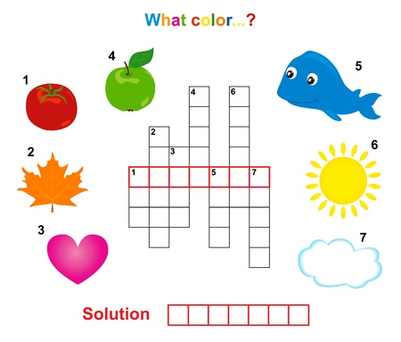 Farbe Kreuzworträtsel, Wörter-Spiel für Kinder Illustration