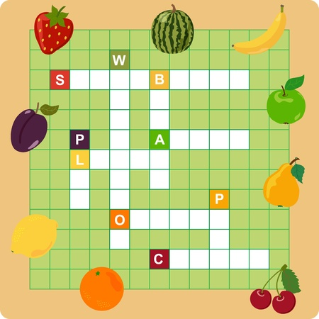 crossword: fruit crossword, words game for children