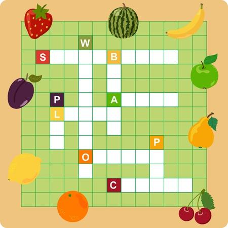 kwis: fruit kruiswoordraadsel, woorden spel voor kinderen