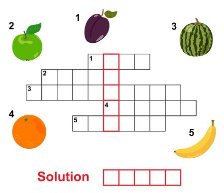 fruit crossword, words game for children Stock Vector - 12958454
