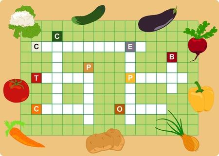 Gemüse-Kreuzworträtsel, Wörter-Spiel für Kinder Vektorgrafik
