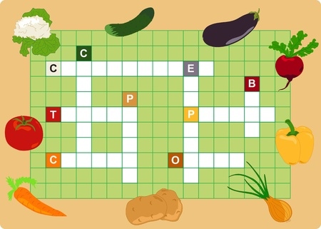 vegetable crossword, words game for children Illustration