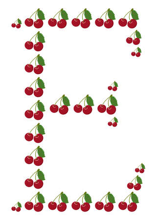 Letter - E made from cherry  Isolated on a white  Vector