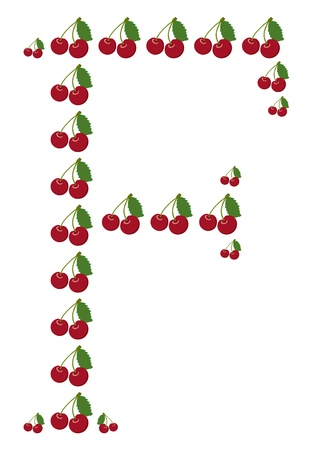 Letter - F made from cherry  Isolated on a white  Vector