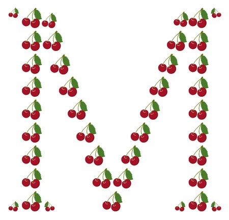 Letter - M made from cherry Vector
